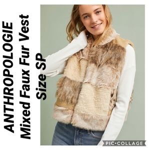 ANTHROPOLOGIE Mixed Faux Fur Vest Size SP